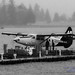 Black and White of Departing Harbour Air Otter