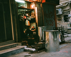"""""""another day is done, almost"""" (180417) (hugo poon - one day in my life) Tags: rollei35s fujifilm film fujicolorindustrial400 hongkong sheungwan upperlascarrow waterlane vanishing dayisdone colours solitude longday tired citynight shop catstreet"""