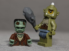 Frankenstein's meeting with the Cyclops did not go as he hoped it would (N.the.Kudzu) Tags: tabletop lego minifigures frankenstein cyclops manualfocus primelens canondslr lensbabyvelvet56 macro