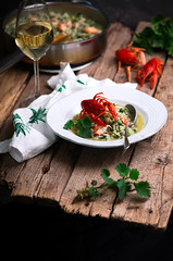 risotto with nettles and crayfish.style rustic. (Zoryanchik) Tags: risotto nettles crayfish white dish green plate italian rice food dinner lunch cuisine seafood shrimps healthy gourmet meal eating cheese portion