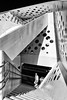 Holes and Stairs (Leipzig_trifft_Wien) Tags: aarhus regionmidtjylland dänemark dk street streetphoto person people black white bnw pov perspective steel structure architecture grey staircase contrast lines light shadow shadowplay geometry abstract hole