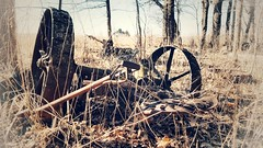 tired and retired... (BillsExplorations) Tags: farmmachinery rust machinery old vintage wheels abandoned decay forgotten sepia lost upsidedown farm agriculture neglected retired tired