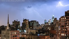 Electrifying Part 2 (20180510-DSC06004) (Michael.Lee.Pics.NYC) Tags: newyork lightning hudsonyards night longexposure aerial eastvillage rooftops architecture cityscape gracechurch sony a7rm2 fe24105mmf4g
