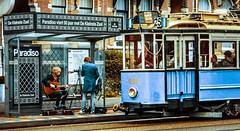 Amsterdam Music Photoshot (Michael Shoop) Tags: michaelshoop thenetherlands netherlands holland europe canon7dmarkii music tram candidstreetphotography candidstreet spiegelgracht guitar blue camera