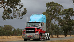 International Series (2/9) (Jungle Jack Movements (ferroequinologist)) Tags: international inter 4300 transtar 182 national transport hall fame george pyers patten crawling hume winton benalla highway pattens hp horsepower gear oil haul haulage freight cabover trucker drive carry delivery bulk lorry hgv wagon road nose semi trailer deliver cargo interstate articulated vehicle load freighter ship move roll motor engine power teamster truck tractor prime mover diesel injected driver cab cabin loud rumble beast hood australia