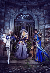 Fotocon 2017: Final Fantasy XIV group photoshoot, by SpirosK photography (SpirosK photography) Tags: alphinaudleveilleur finalfantasy finalfantasyseries finalfantasyxiv cosplay finalfantasycosplay fotocon fotoconbytechland fotocon2017 fotoconbytechland2017 portrait game videogamecharacter videogame blue ff14 ffxiv finalfantasy14 mage magic wizard spell spellbook battle monsters spells ailiroy astrologian aymericdeborel sword arealmreborn