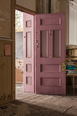 the pink choice. (stevenbley) Tags: canon5dmarkii abandoned decay church newpennsylvania pa saint rust grime dust empty breakingandentering trespassing guerillahistorian chapel confession confessional pink door