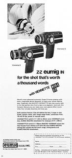 Eumig Super 8 movie cameras advertisement.