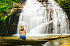 Reverie at the Waterfall (David W Johnson) Tags: waterfall georgia ga heltoncreekfalls northgeorgia mediation reverie peaceful stream water female woman hat canon canon2470 5dmk3 slowshutter