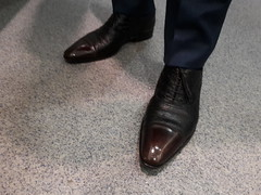 Businessman's fancy dress shoes 03 (TBTAOTW2011) Tags: businessman business man daddy dad old mature grey gray belly suit shirt pants socks leather dress shoe shoes burgundy brown ostrich white silver fox glasses feet foot hidden camera candid