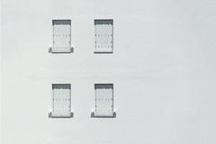 White windows, white wall (on Explore) (Jan van der Wolf) Tags: map17524vv white wit windows facade gevel wall muur ramen monochrome monochroom four vier shutters blinden