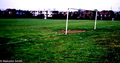 The Field (M C Smith) Tags: field grass playingfield goalposts flats houses pylons fences green brown white lines yellow flowers mud