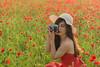 (georgina Mlg) Tags: nikon35mm nikon3330 nikon red dress hut sun nature girl landscape camera poppies field greece