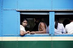 (cherco) Tags: train window colour myanmar composition composicion canon city color woman mujer man tanaka lines blue azul station estacion green verde 5d travel viaje asia