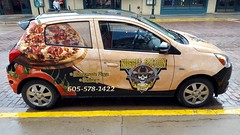 The Nugget Saloon Pizza Delivery Vehicle (rabidscottsman) Tags: scotthendersonphotography travel pizzadelivery cowboyhat skull guns revolver deadmanshand nuggetsaloon pizza food cobblestonestreet cobblestone sd southdakota deadwood deadwoodsouthdakota cards playingcards smile creativity