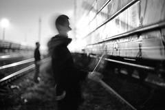 (sele3en) Tags: film 35mm analog filmphotography graffitiphotography graffiti grain night saintpetersburg saintpetersburggraffiti russia russiangraffiti train trainbombing citynights urban urbanart blackandwhitefilm paint sprayart vandal russianlife art saintp russians graffitinights