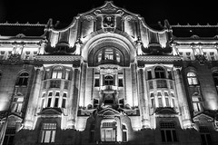Grand Hotel Budapest (McQuaide Photography) Tags: budapest hungary magyarország europe sony a7riii ilce7rm3 alpha mirrorless 24105mm sonyfe24105mmf4g fullframe mcquaidephotography lightroom adobe photoshop tripod manfrotto city urban lowlight nightphotography night outdoor outside building longexposure landmark capitalcity capital architecture structure greshampalace fourseasonshotelbudapest greshampalota hotel artnouveau facade front windows blackandwhite bw mono monochrome