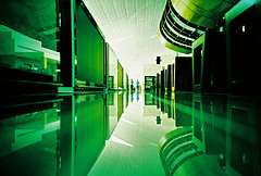 Lomo – spaceship Dubai (lomomowlem) Tags: 35mm analogue airport crossprocess colourstreambrighton expiredfilm groundshot kodakelitechrome lomo lomography lca lofi lowdown perspective ratseye reflection shiny travel xpro xprocess green mirror dubai lounge