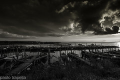 Brutto temporale.. (paolotrapella) Tags: bw bn nwn laguna valle boat sky clouds