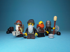 Dwarf Engineers (Dwalin Forkbeard) Tags: moc lego minifigure macro dwarf warhammer fantasy cannon engineer pilot army squad