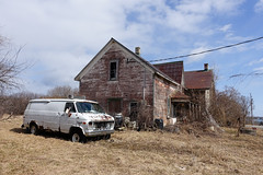 The White Van (gabi-h) Tags: htt happytruckthursday whitevan oldhouse abandoned dilapidated derelict drygrass gabih princeedwardcounty oncewashome wheredidtheygo sky clouds lonelyscene