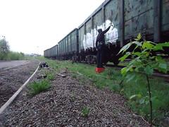 I in action (Freight_punk) Tags: fr8 freights freightheaven freightporn freighttraingraffiti freighttrain freightlife freightlove saber gondolacar moscow russia graffiti