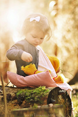 Little Adventure 2 (snadisni) Tags: girl forest teddy bear nature playtime spring finland finnish child children green sunlight tyttö metsä lapsi 85mm