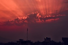 0750 Pokhara Sky (Hrvoje Simich - gaZZda) Tags: sky outdoors city clouds red ray light sun sunset sunrise silhouette pokhara nepal morning asia nikon nikond750 nikkor283003556 gazzda hrvojesimich