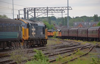 Class 37s at Norwich, 37407 in the foreground and visitors 37116 & 37219 in the background. 12 05 2018