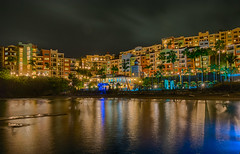 Colorful Cove (tquist24) Tags: caribbeansea frenchmanscove hdr nikon nikond5300 outdoor pacquereaubay usvirginislands virginislands beach clouds cove evening geotagged hotel island lights longexposure night ocean palmtree palmtrees reflection reflections sand shadow shadows sky tree trees tropical vacation water stthomas