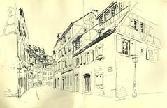 Rue de la Montagne Verte - Colmar (lolo wagner) Tags: croquis sketch alsace urbansketchers usk colmar