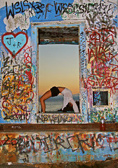 Abandoned Electrical Vault (emeraldsrain) Tags: abandoned electricalvault tackleshop graffitishack hidden sandiego missionbeach pier