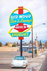 Red Wood Bar and Lounge (Thomas Hawk) Tags: 964 america carrera carrera2 cheyenne grandprixwhite porsche porsche911 porsche911carrera2 porsche911cabrioletc2964 porsche964 redwoodbarlounge scottjordan usa unitedstatesofamerica unitedstates wyoming auto automobile bar car convertible neon neonsign us fav10 fav25