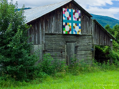 Barn Quilt (Karen J. Patterson) Tags: sightseeing trail history art quilt photooftheday flickr barnquilt marion northcarolina unitedstates country countryside rural barn colorful landscape green hill clouds blue abandonedbarn artistic