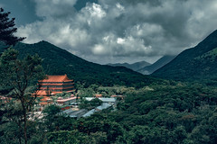 Po Lin Monastery. (Matthias Dengler || www.snapshopped.com) Tags: po lin monastery matthias dengler snapshopped photography photographer photograph photo photoshop artist retoucher high end nature travel discover explore create mountain mountains cloud clouds dark hong kong china asia trees forest religion temple storm