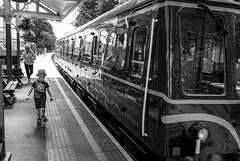 Stanhope Station . (wayman2011) Tags: colinhart fujifilm18mmf2lightroom5 fujifilmxt10 wayman2011 bw mono rural trains transport stations people pennines dales weardale stanhope countydurham uk