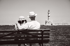 View of the Old Lighthouse, Chania Harbour Crete (Splat Photo) Tags: lighthouse old crete cretan harbour greece chania chaniacretegreece couple view admiring sea ocean bw blackandwhite sony a7iii a7m3 sel24105g fe24105f4 24105 f40 ilce7m3
