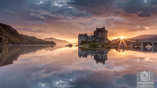 Eilean Donan Castle at Sunset in Scotland
