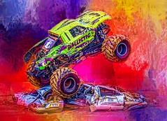 Over The Top (Wes Iversen) Tags: davisburg htt michigan monstertrucks nikkor18300mm oaklandcountyfair texturaltuesday cars motion sports texture trucks vehicles wheels