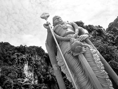 Batu Caves Statue of Murugan, Malaysia (shaire productions) Tags: malaysia travel global world batucaves temple hindu image statue beauty mountains nature landmark site golden shrine hills gombak selangor limestone hill ramayanacave marugan