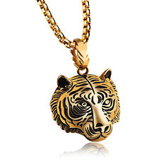 Men′s Punk Gold Black Tiger Stainless Steel Long Necklace Hip Hop Accessory (1195273) #Banggood (SuperDeals.BG) Tags: superdeals banggood jewelry watch men′s punk gold black tiger stainless steel long necklace hip hop accessory 1195273