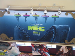 The Meg - megalodon monster shark poster 4931 (Brechtbug) Tags: the meg 2018 film based 1997 science fiction book a novel deep terror by steve alten giant shark movie that has bounced around studios for two decades megalodon monster theater lobby standee amc loews 34th street 14 theatre jaws like summer august holiday ocean creature spooky sea monsters nyc 07072018 new york city midtown west side