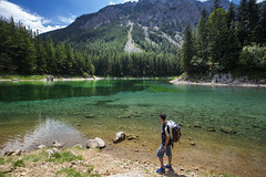 Grüner See (Green Lake) (yan08865) Tags: mountain sky tree landscape lake water forest people austria grass green river rock mountainside flow earth nature solo travel photographers pavlis grüner see alpine alps crystal styria
