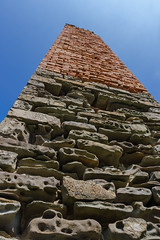 Mine chimney (mikeplonk) Tags: pembrokeshire westwales wales noltonhaven stbridesbay chimney colliery coalmine trefrane newgale stone brick threecolours ruin ruins abandoned frombelow lookingup nikon d5100 18140mm kitlens sky