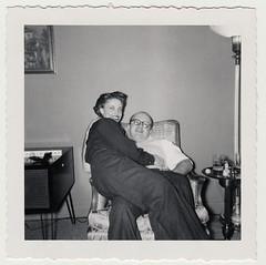 Vintage 1960's : Unidentified Couple Enjoying a Good Lapsit (CHAIN12) Tags: scanned photo vintage snapshot scan couple lap sitting sit sitter lapsitter 20thcntryphts1960slapsitcouplefrumpydude