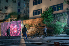 Behaviourism (Markus Lehr) Tags: metal metalsheets coloured light workers street wall tools longexposure langzeitbelichtung nightshot nightphotography urbanspace manmadelandscape zhanjiang china markuslehr