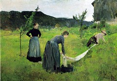 Backer, Harriet (1845-1932) - 1886-87 The Bleaching (skaradogan) Tags: harrietbacker backer painter 19thcentury norwegian female 1886 1880s thebleaching landscape group pastoral workers naturalism impressionism