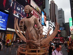 Ship Figurehead Lady Sculpture Times Square NYC 5569 (Brechtbug) Tags: wake unmoored sculptures by artist mel chin climate change themed art times squre midtown manhattan 2018 nyc july 07172018 figurehead lady ship statue boat construction ribs sunken shipwreck artwork wood woodlike carved carving historic past history