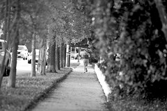 the ponytail swings (unfocused mike) Tags: girl sidewalk trees bushes bw light exercise fitness jogger run woman ponytail