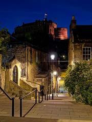 Edinburgh Castle from the Vennel (Ralph Cherubin) Tags: olympus ep5 panasonic 20mmf17 july 2018 edinburgh scotland europe castle steps night blue hour vennel street architecture